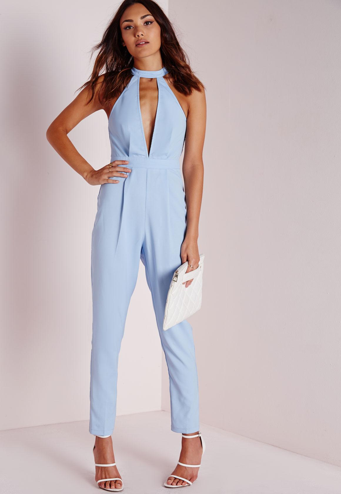 Split Front Jumpsuit Powder Blue - Jumpsuits - Missguided