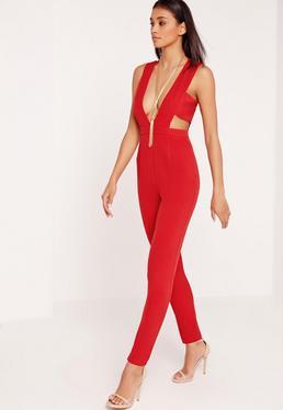Crepe Plunge Side Band Jumpsuit Red