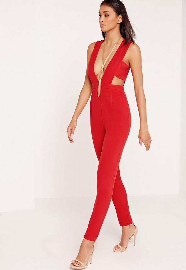 Crepe Plunge Side Band Jumpsuit Red