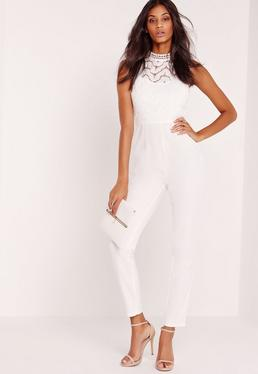 Lace Sleeveless Jumpsuit White