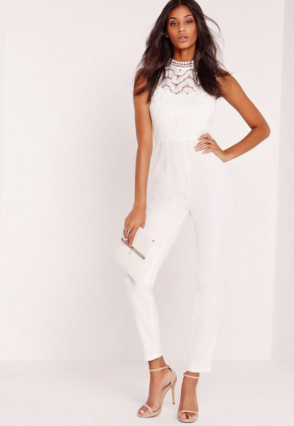 Lace Sleeveless Jumpsuit White Missguided