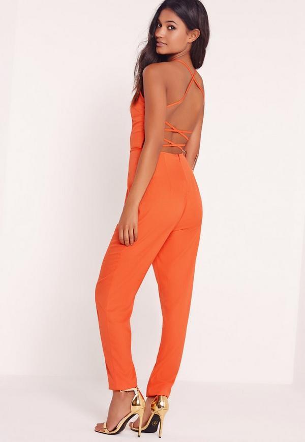 Crepe Back Strap Detail Jumpsuit Orange