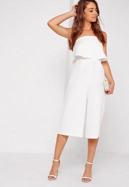 Zweilagiger Culotte-Jumpsuit aus Kreppstoff in Weiß