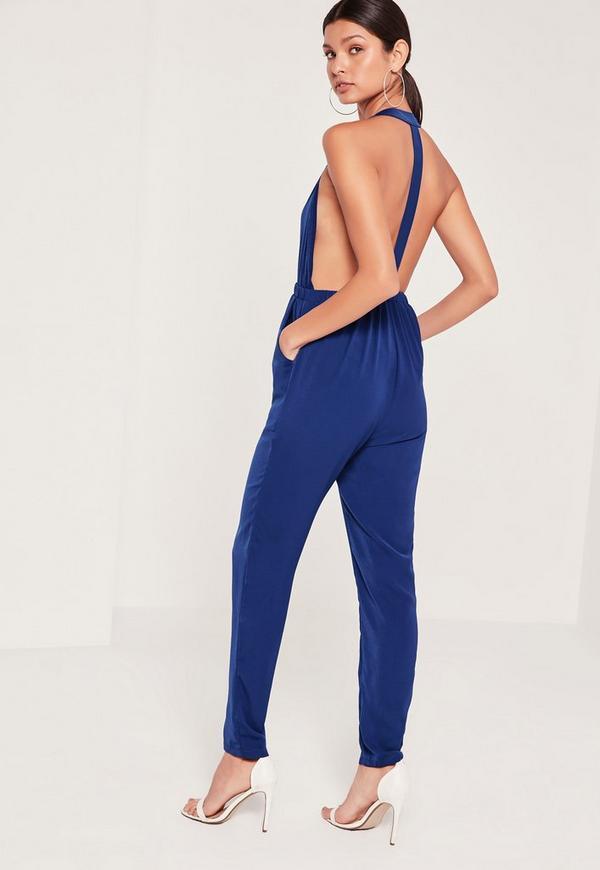 Crepe T Bar Jumpsuit Blue