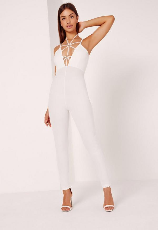 Harness Detail Jumpsuit White