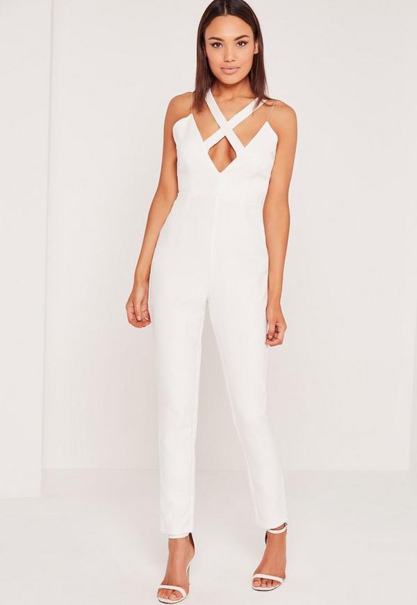 Crepe Cross Front Jumpsuit White