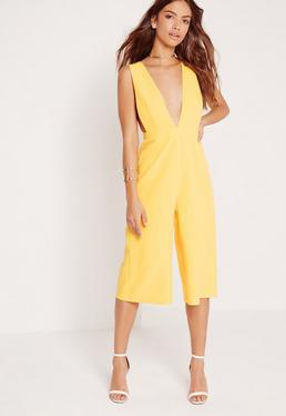 Combi-jupe-culotte décolletée jaune