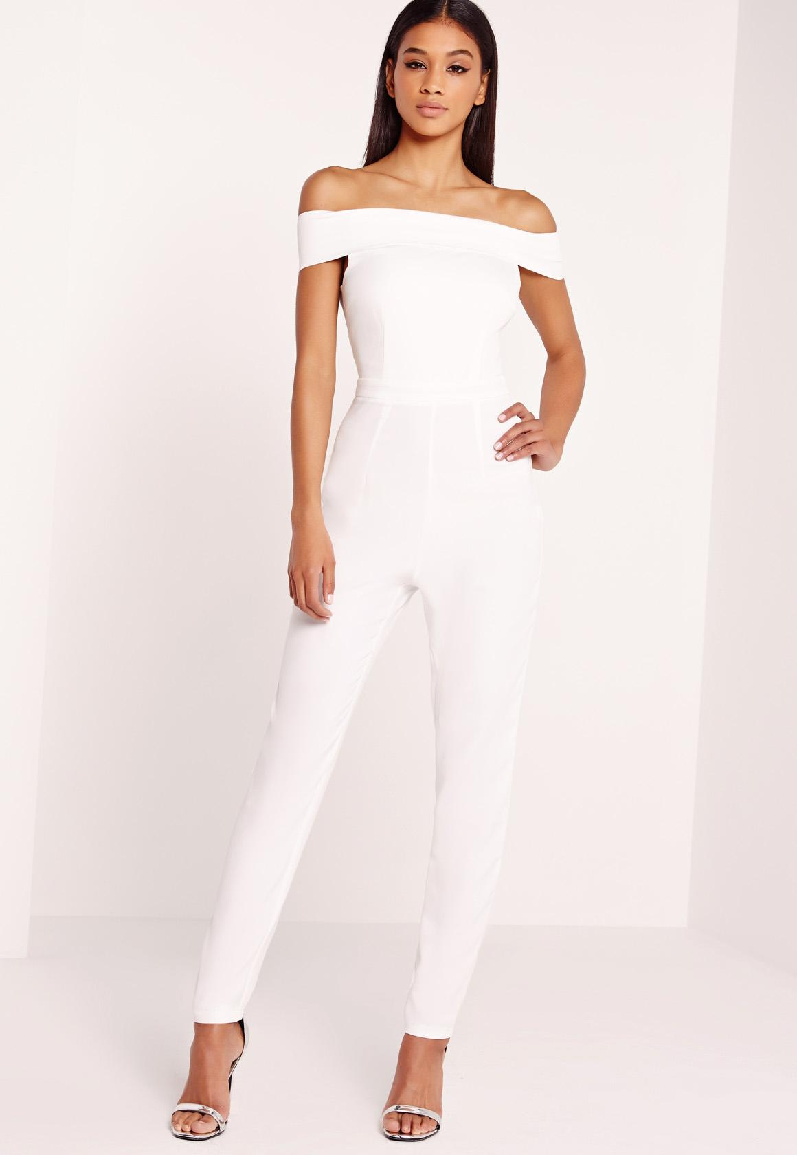 8ed30668094 Crepe Bardot Jumpsuit White - Missguided