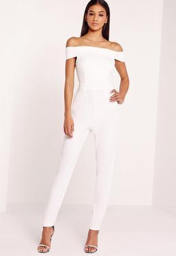 Crepe Bardot Jumpsuit White