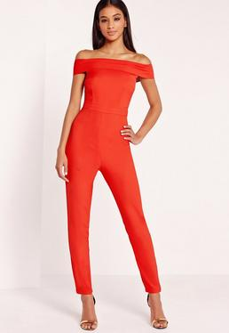 Crepe Bardot Jumpsuit Red