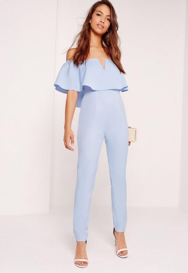 Crepe Bardot Frill Detail Jumpsuit Blue
