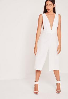Culotte-Jumpsuit aus Kreppstoff mit Armlöchern in Weiß