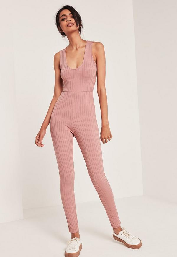 Ribbed Plunge Sleeveless Unitard Jumpsuit Pink