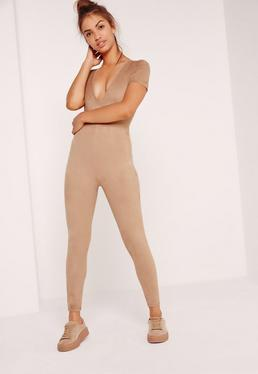 Suede Short Sleeve Unitard Jumpsuit Nude