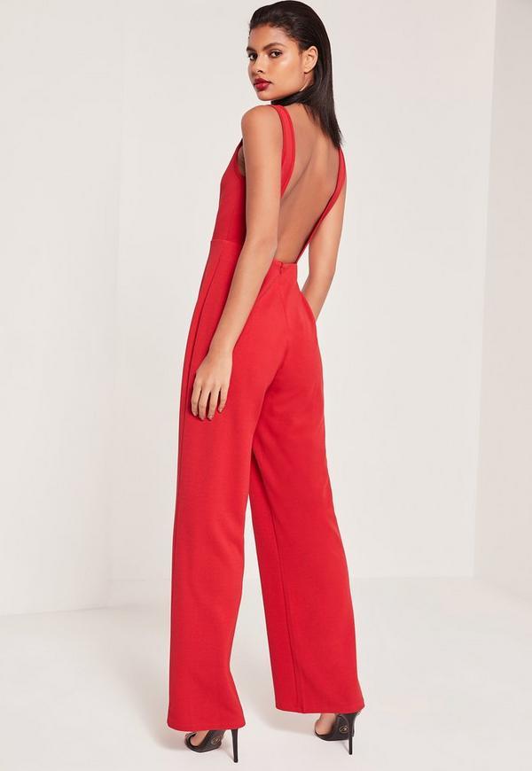 Crepe Scoop Neck Jumpsuit Red