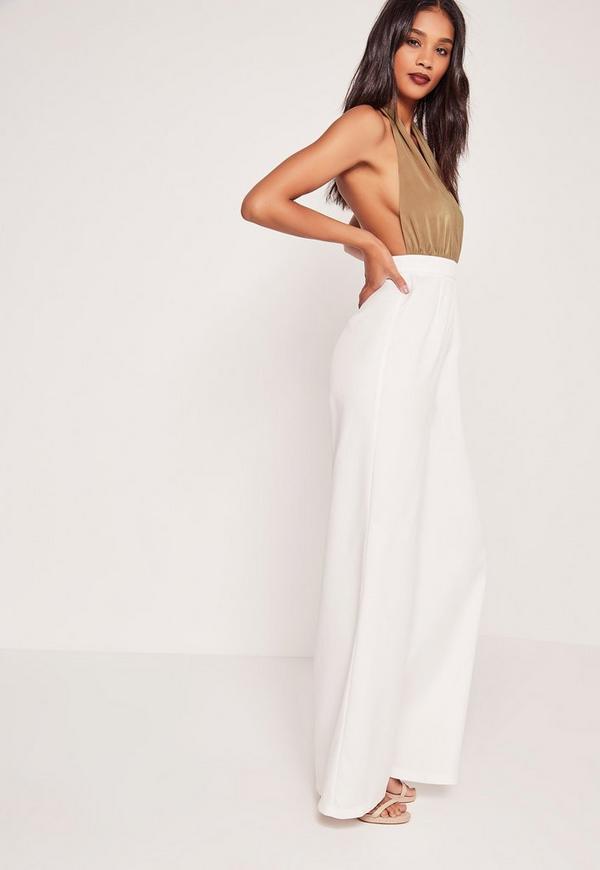 Contrast Plunge Jumpsuit White