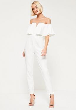 Crepe Bardot Frill Detail Jumpsuit White