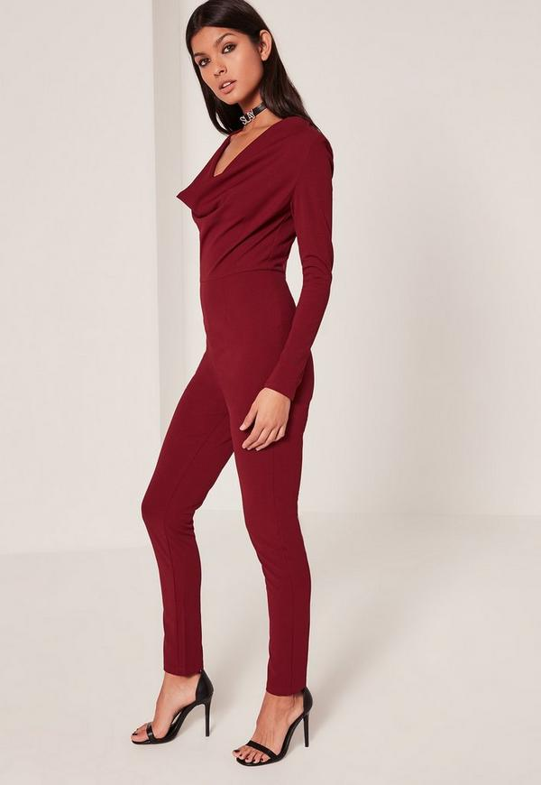 Burgundy Cowl Front Ankle Grazer Crepe Jumpsuit