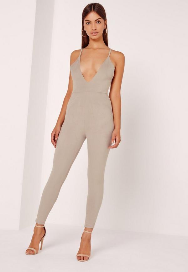 Suede Plunge Jumpsuit Grey