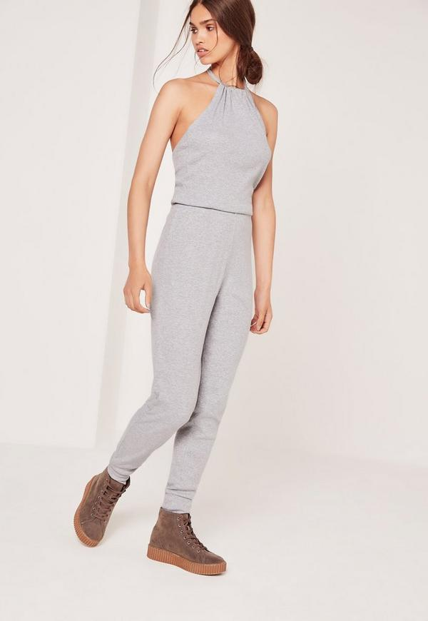 Ribbed Halter Neck Jumpsuit Grey
