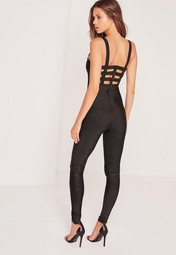 Bandage Caged Back Jumpsuit Black