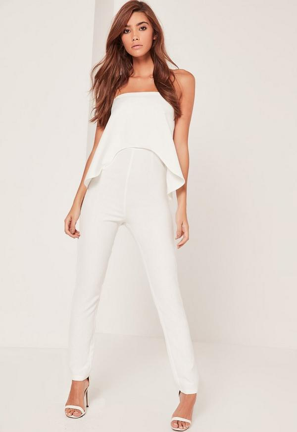 Elongated Double Layer Jumpsuit White