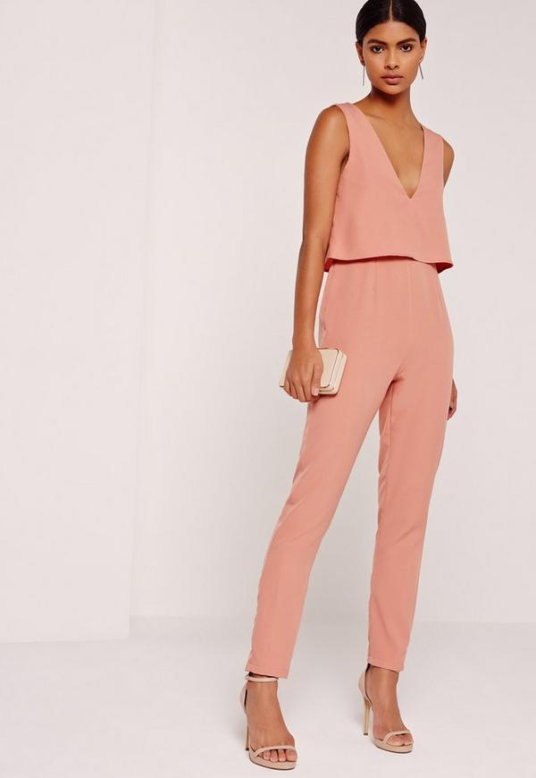 Crepe Sleeveless Double Layer Jumpsuit Pink