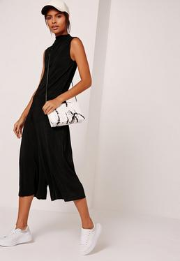 Pleated High Neck Culotte Jumpsuit Black