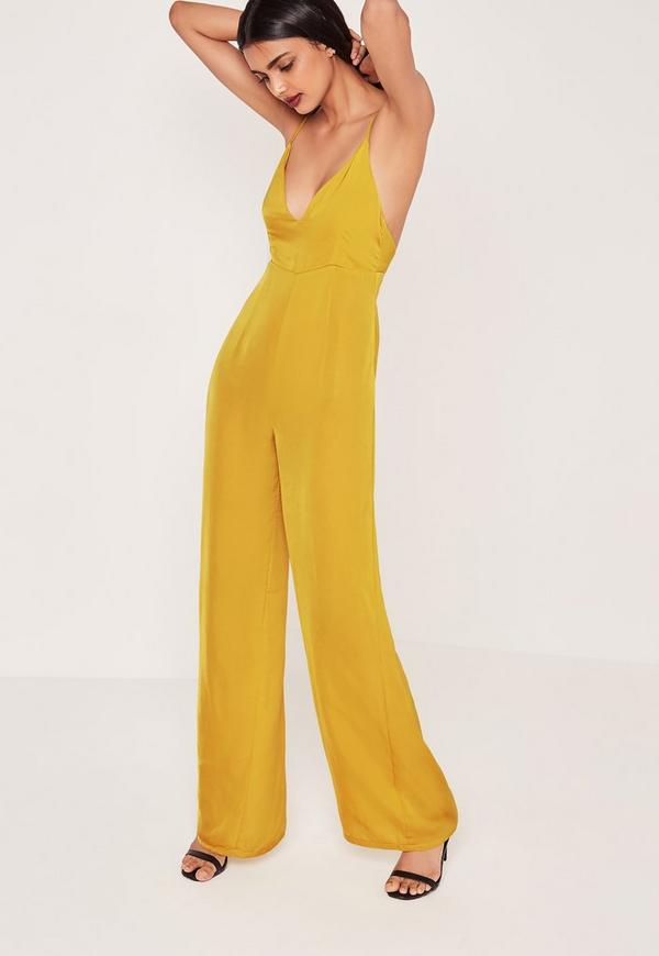 Silky Plunge Wide Leg Jumpsuit Chartreuse - Missguided