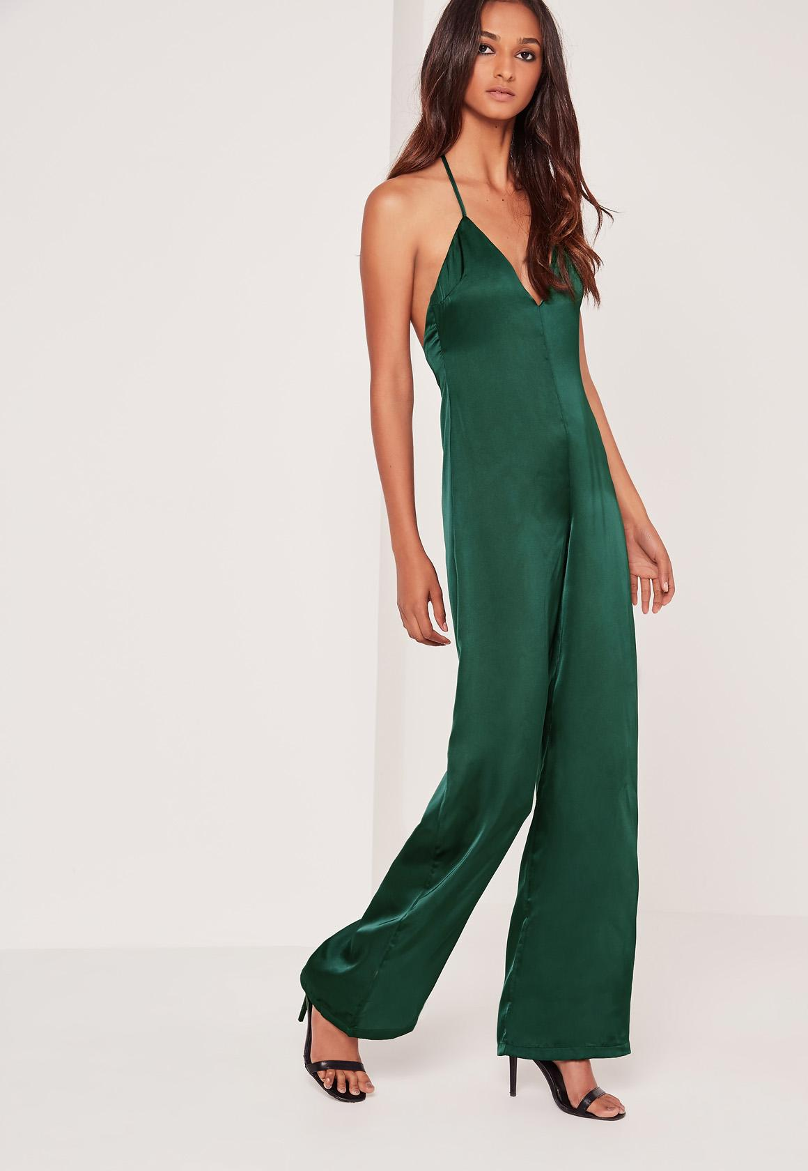 Silky Plunge T bar Jumpsuit Green