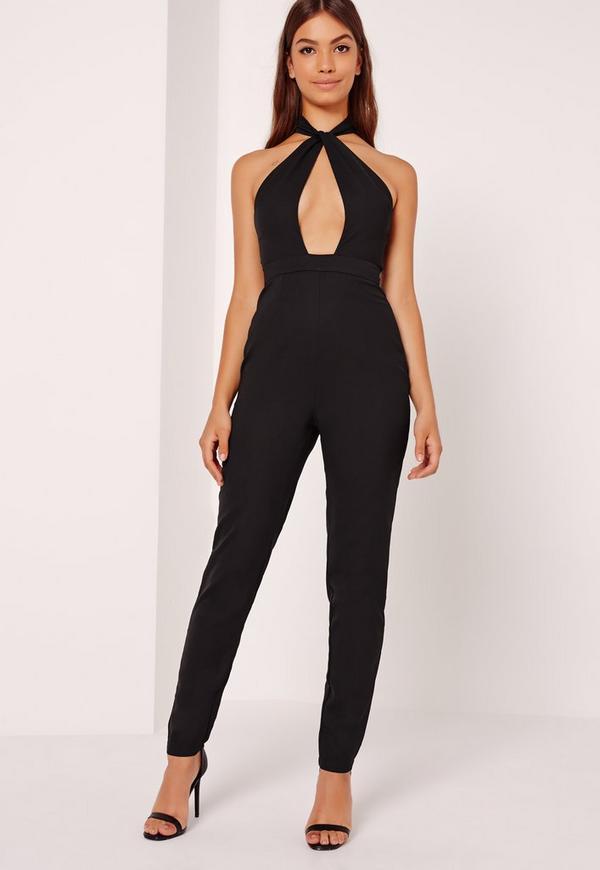 Crepe Front Knot Jumpsuit Black