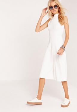 Combi jupe-culotte blanche à col montant