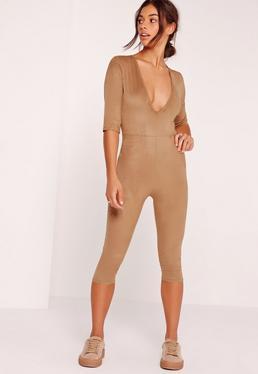 Faux Suede Short Sleeve 3/4 Leg Unitard Jumpsuit Tan