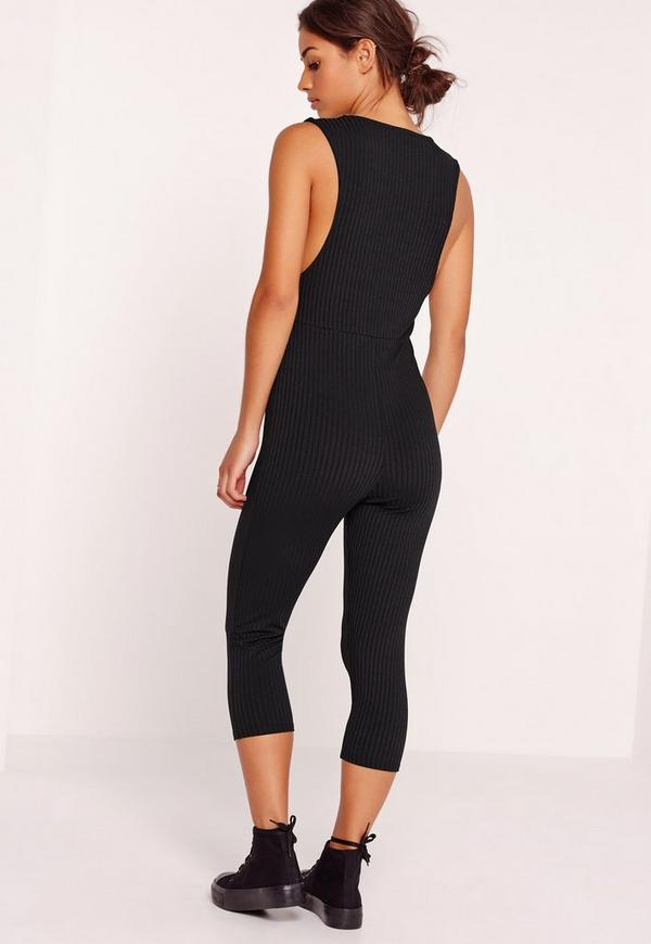 Ribbed Sleeveless 3/4 Leg Unitard Jumpsuit Black | Missguided