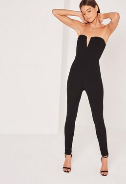 Crepe V bar Jumpsuit Black