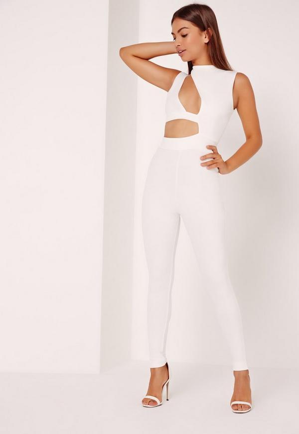 Crepe Asymmetric Cut Out Jumpsuit White