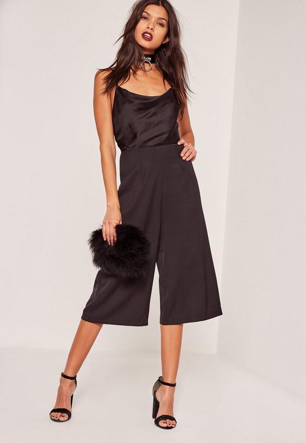 Black Silky Cowl Culotte Jumpsuit