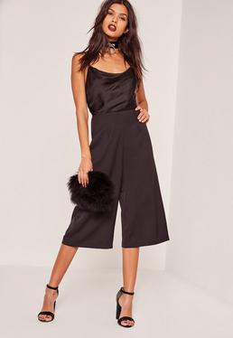 Combi jupe-culotte noire col bénitier