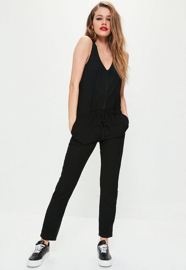 Sleeveless Zip Through Jumpsuit Black
