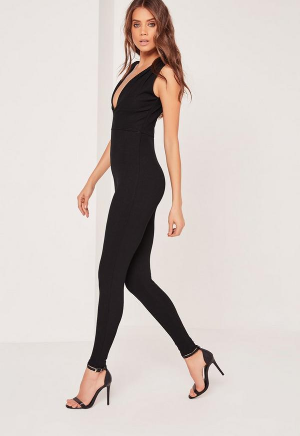 2b69f90825c Ribbed Sleeveless Ruched Shoulder Unitard Jumpsuit Black. Was €25.00. Now  €13.00 (50% off). Previous Next