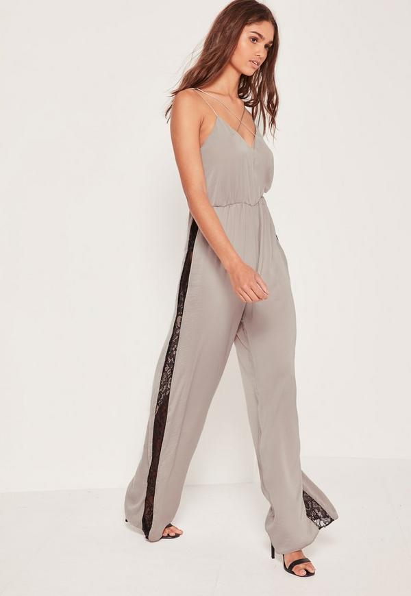 Silky Lace Insert Jumpsuit Silver
