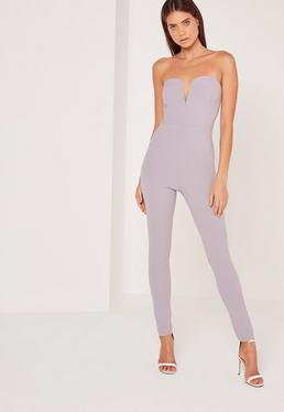 Crepe V bar Jumpsuit Grey