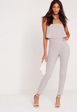 Bandeau Double Layer Jumpsuit Grey