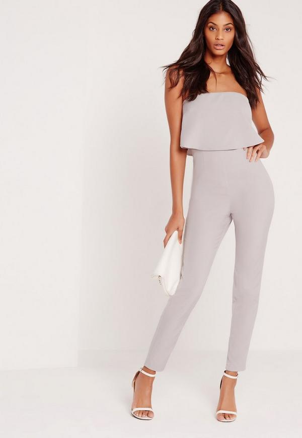Bandeau Double Layer Jumpsuit  Grey