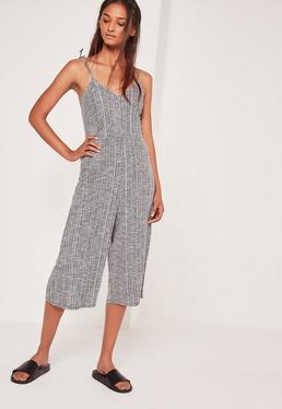Ribbed Strappy Culotte Jumpsuit Grey