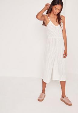Combi jupe-culotte blanche côtelée à bretelles