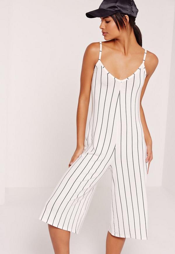 Jersey Strappy Stripe Culotte Jumpsuit