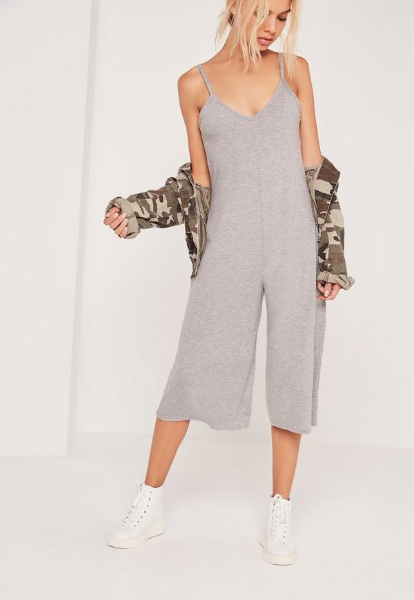 Jersey Strappy Plunge Culotte Jumpsuit Grey
