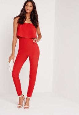 Zweilagiger Bandeau-Jumpsuit in Rot