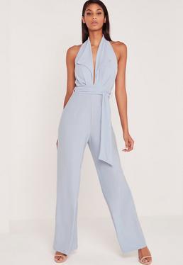 Carli Bybel Blazer Style Wide Leg Jumpsuit Blue